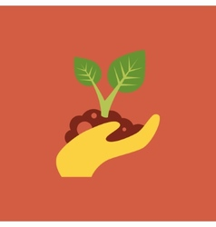 Small tree in a hand vector image