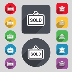 Sold icon sign a set of 12 colored buttons and a vector