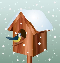 Winter bird house with little bird vector image vector image