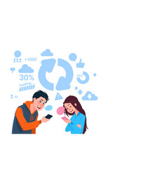 young boy and girl holding cell smart phones vector image