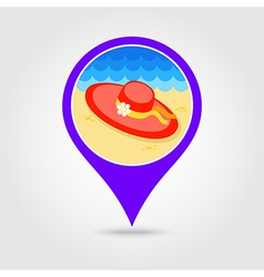 Beach hat pin map icon Summer Vacation vector image