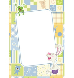 Boys childrens frame with rabbit and frog vector image