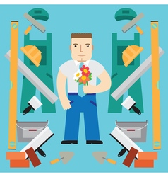 Builder with flowers vector image
