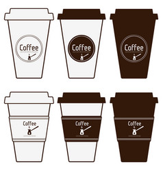 Coffee paper cups set simply blank coffee to go vector