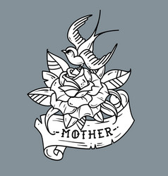 tattoo bird sitting on rose lettering mother vector image vector image
