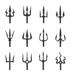 trident icon set vector image
