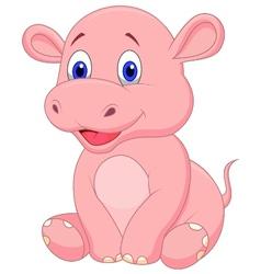 Cute baby hippo cartoon vector