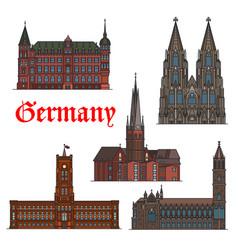 german architectural travel landmark icon set vector image vector image