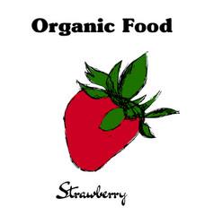 hand drawn vintage strawberry vector image