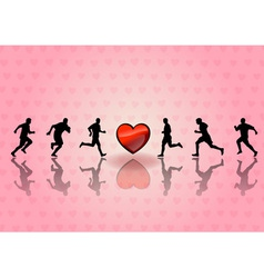 heart and runners on the background vector image vector image