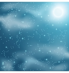 Stars and clouds on the night sky vector image vector image