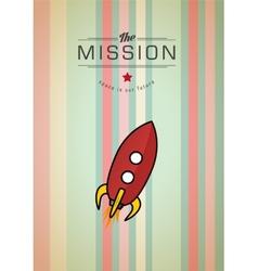 Vintage rocket in space vector image
