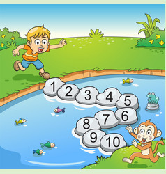 counting number one to ten with boy and monkey vector image