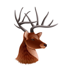 deer head profile isolated on white vector image vector image