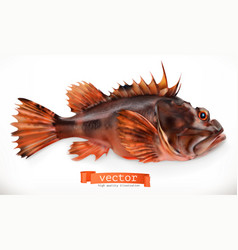scorpionfish 3d icon seafood realism style vector image vector image