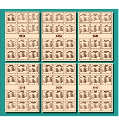 set of calendar template in retro style vector image