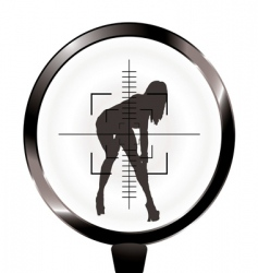 sexy girl and rifle target vector image vector image