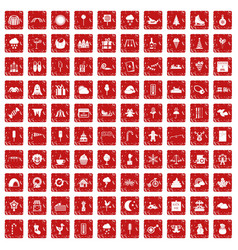 100 childrens parties icons set grunge red vector image