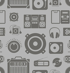 Audio equipment icons collection seamless pattern vector image