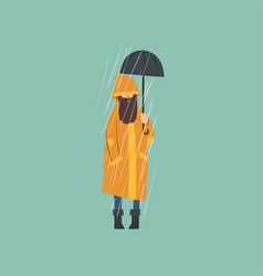 Bearded man in orange raincoat with umbrella over vector