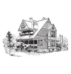 bensonhurst two story house vintage engraving vector image