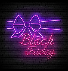 black friday red neon sign with purple bow vector image