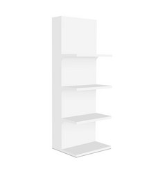 blank display stand with shelves mockup side view vector image