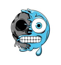blue cold emoticon change to dark skull vector image