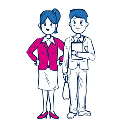 Business man and woman standing partners cartoon vector