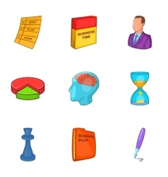 Business plan icons set cartoon style vector