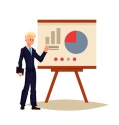 Businessman giving presentation using a board vector image