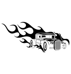 car muscle old 70s with flames vector image