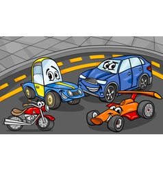 cars vehicles group cartoon vector image