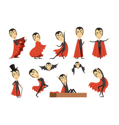 Cartoon count dracula wearing red cape set vector
