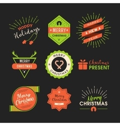 Christmas lables retro style vector