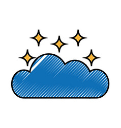 Cloud sky with stars vector