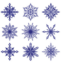 collection decorative snowflakes set winter vector image
