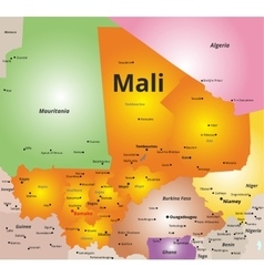 color map of Mali country vector image