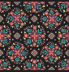 colorful mandala floral pattern on black tile vector image