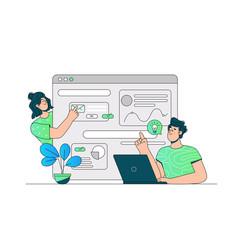 Communication via website or messenger vector