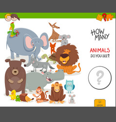 Counting cartoon animals educational game vector