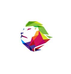 creative colorful lion head logo vector image