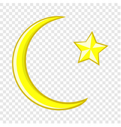 Crescent and star cartoon icon icon cartoon style vector