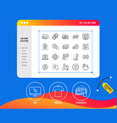 cryptocurrency line icons set of blockchain vector image