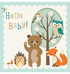 Cute woodland friends baby shower vector
