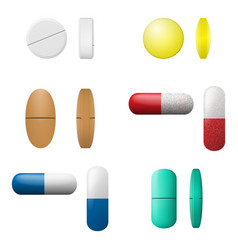 Different pills and capsules set pharmacy drugs vector