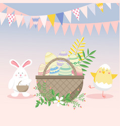 Easter with egg chicken bunny rabbit and flower vector