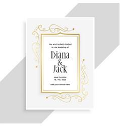 elegant golden floral frame wedding invitation vector image
