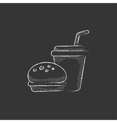 Fast food meal Drawn in chalk icon vector