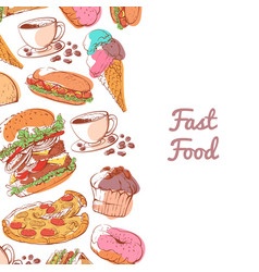 fast food poster with prepared snacks vector image
